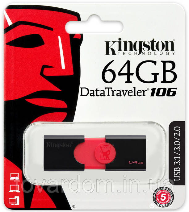 Флешка Kingstone 64GB DT106 Black (USB 3.1)