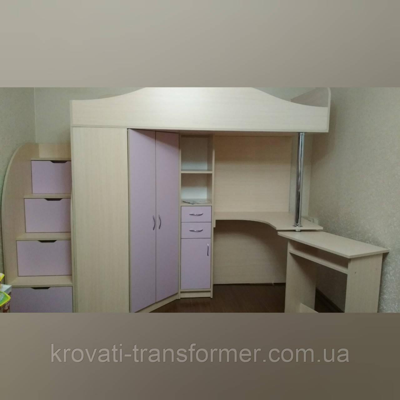 """Кровать чердак со шкафом и столом """"Комби"""" дуб молочный+ лаванда"""