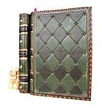 Обложка кожаная блокнота ежедневника винтажного ручной работы оригинальный подарок, фото 8