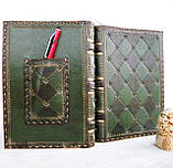 Обложка кожаная блокнота ежедневника винтажного ручной работы оригинальный подарок, фото 2