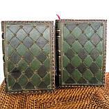 Обложка кожаная блокнота ежедневника винтажного ручной работы оригинальный подарок, фото 6