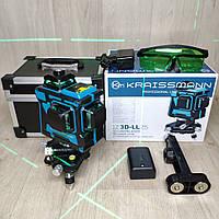 Уровень лазерный нивелир Kraissmann 12 3D-LL 25 зеленый луч на аккумуляторе