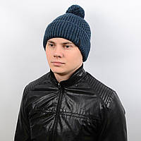 Теплая мужская шапка с подворотом и бубоном на флисе «Alex» AL17007 джинс