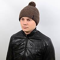 Теплая мужская шапка с подворотом и бубоном на флисе «Alex» AL17007 темно-коричневый
