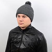 Теплая мужская шапка с подворотом и бубоном на флисе «Alex» AL17007 темно-серый
