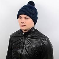 Теплая мужская шапка с подворотом и бубоном на флисе «Alex» AL17007 темно-синий