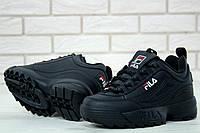 Кроссовки Fila Disruptor 2 женские, черные, в стиле Фила Дизраптор, материал - кожа, подошва - пена, код KD-11472.