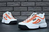 Кроссовки Fila Disruptor 2 женские, белые с оранжевым, в стиле Фила Дизраптор, материал - кожа, подошва - пена, код KD-11475.