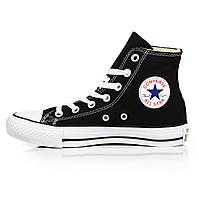 Кеды женские Converse All Star - черные с белым, высокие, в стиле Конверс, материал - хлопок, код U-0186