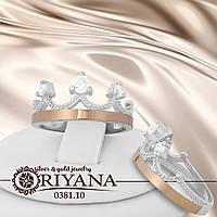 Кольцо серебряное *Корона* с золотыми пластинами 375 пробы.Вставка - фианиты.