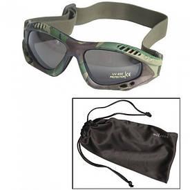 Очки маска Mil-Tec Commando Goggles Air Pro Smoke woodland