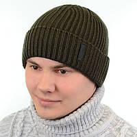 Теплая вязаная мужская шапка с подворотом на флисе «Alex» 18107 хаки