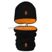 Набор Бафф (Горловик) + Шапка в стиле Шахтёр чёрно / оранжевый