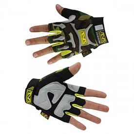 Тактические перчатки без пальцев MECHANIX камуфляжные