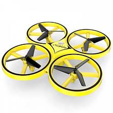 Квадрокоптер TRACker с сенсорным управлением и подсветкой дрон управление жестами руки Желтый, фото 2