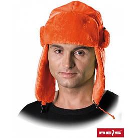 Шапка ушанка Reis оранжевая
