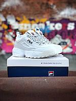 Кроссовки Fila Disruptor 2 женские, белые, в стиле Фила Дизраптор 2, материал - кожа, подошва - пена, код  Z-1263.