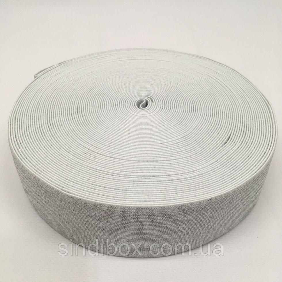 Резинка поясная 5см белая с люрексом серебро (653-Т-0487)