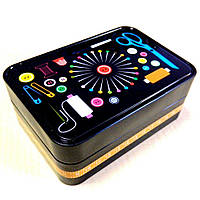 Металлическая шкатулка для рукоделия (бокс для швейных принадлежностей) черная (657-Л-0506)