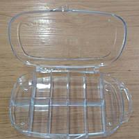 32-Пластиковая тара (контейнер, органайзер) для рукоделия и шитья 13×8×2.5 см. 11 ячеек (657-Л-0232)