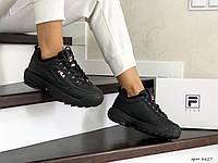 Кроссовки зимние Fila Disruptor 2 женские, черные, в стиле Фила Дизраптор, кожа, мех, код SD-8627