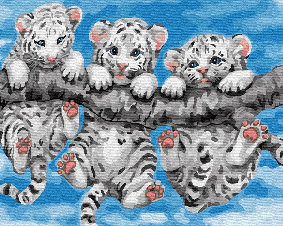 """Картина по номерам. Brushme """"Маленькие тигрята"""" GX29308"""