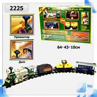 Железная дорога  батар.,реальные звуки, дым,поезд+3 вагона,в коробке 64*43*10см