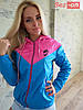 Куртка ветровка женская на флисе - Голубой с розовым