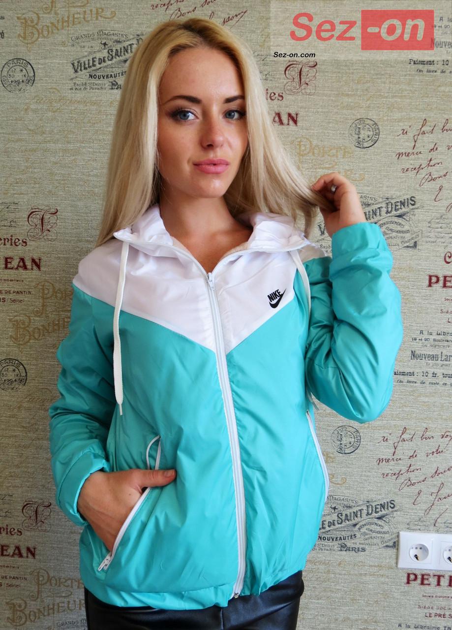 Куртка ветровка женская на флисе - Бирюзовый