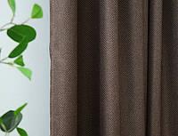 Штора льон Blackout Soft темно коричневий, фото 1
