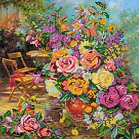 Схема для вишивання бісером на холсті «Квіткова гармонія»30*30 см ,Abris art