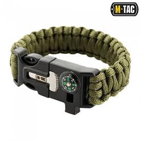 M-Tac браслет-паракорд с искровысекателем, компасом и свистком олива