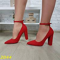 Туфли лодочки с застежкой узкий носок на толстом широком каблуке красные