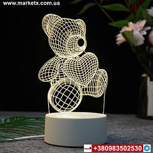 Ночник 3d Мишка с сердечком на белой подставке