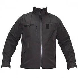 Куртка тактическая софтшелл на флисе черная