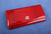 Женский кожаный кошелек красный