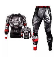 Компрессионный комплект спортивной одежды Venum Wolf mma Венум Волк рашгард лосины