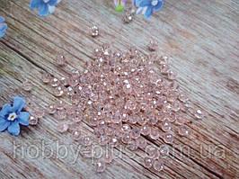 Бусины хрустальные 2х2 мм, 180-190 шт, цвет светло-розовый