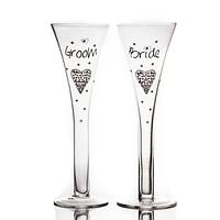 """Набір келихів для шампанського """"Наречений і наречена"""" в подарунковій упаковці 300 мл, фото 1"""