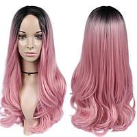 Длинные парики - 66см, черно-розовый градиент, волнистые волосы без челки, косплей, анимэ
