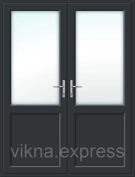 Пластиковая межкомнатная 2х створчатая дверь антрацит ламинация с обеих сторон