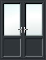 Пластиковая межкомнатная 2х створчатая дверь антрацит ламинация с обеих сторон, фото 1