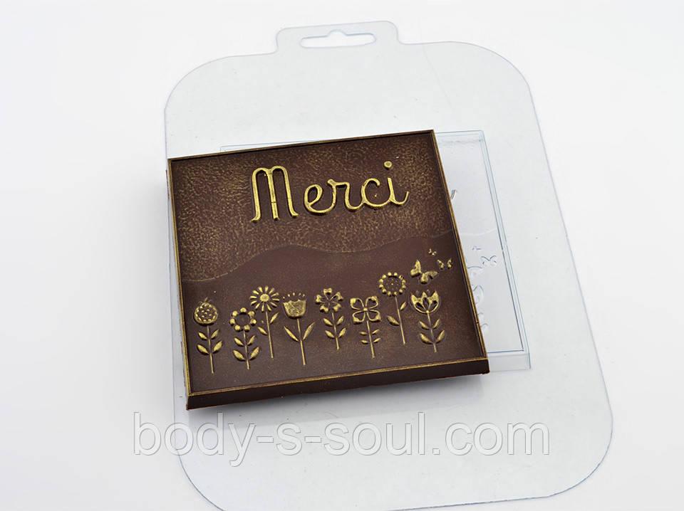 Пластиковая форма для шоколада Плитка Мерси Цветы