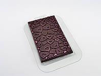 Пластиковая форма для шоколада Плитка В Сердечках