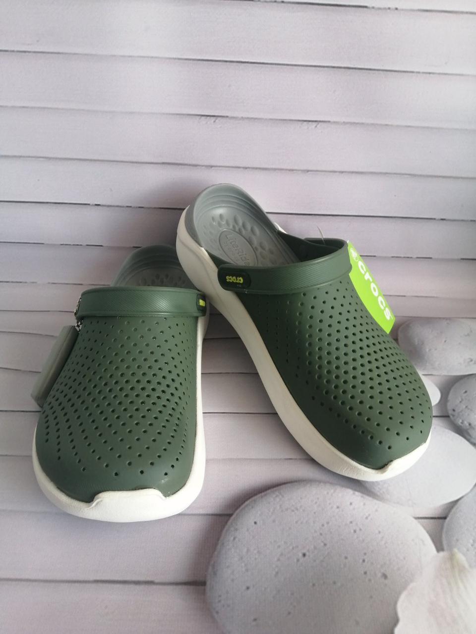 Кроксы летние Crocs LiteRide™ Clog зелёные 37 разм.