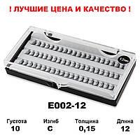 Ресницы пучки в кейсе 10D, 12 мм, С, 0,15, 60 пучков