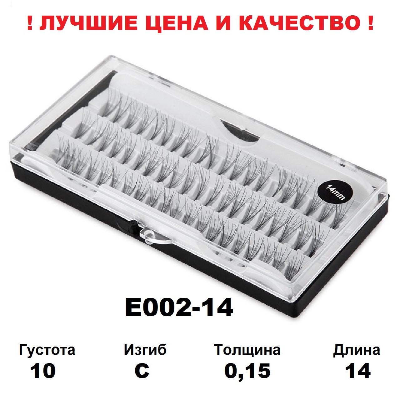 Ресницы пучки в кейсе 10D, 8-14 мм, С, 0,15, 60 пучков 14, Черный