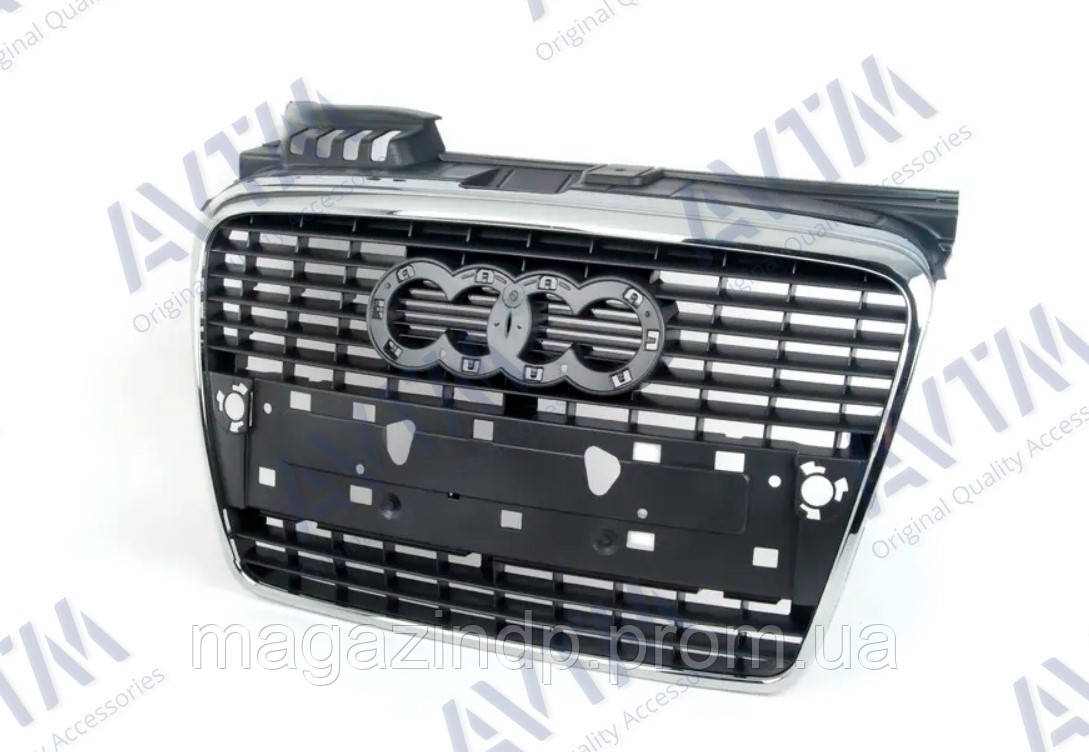 Решетка радиатора  A4 2005-2008 хром/черн. ABS 181205990 8E0853651J1QP Код товара: 3799834