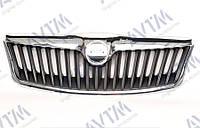 Решетка радиатора  Octavia (A5) 2009-2013 черн. с хром рамкой Код товара: 3799982