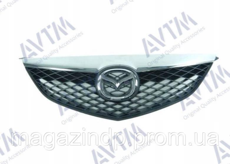 Решетка радиатора Mazda 6 (GG) 2002-2006 с хром накладкой Код товара: 3800001